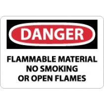 Danger Flammable Material No Smoking Or Open Flames Sign (#D117)