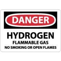 Danger Hydrogen Flammable Gas... Sign (#D294)