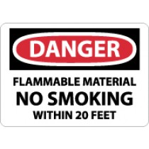 Danger Flammable Material No Smoking Within 20 Feet Sign (#D438)