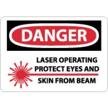 Danger Laser Operating Protect Eyes And Skin From Beam Sign (#D570)