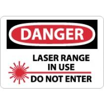 Danger Laser Range In Use Do Not Enter Sign (#D572)