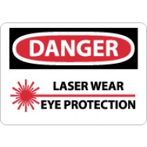 Danger Laser Wear Eye Protection Sign (#D574)