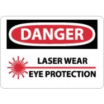 Danger Laser Wear Eye Protection Sign (#D574)