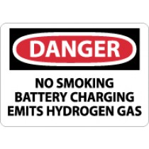 Danger No Smoking Battery Charging Emits Hydrogen Gas Sign (#D586)