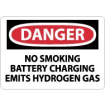 Danger No Smoking Battery Charging Emits Hydrogen Gas Sign (#D586)
