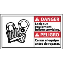 Danger Lock Out Equipment Before Servicing Spanish Sign (#DBA11)