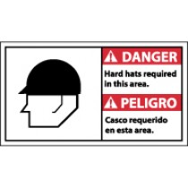 Danger Hard Hats Required In This Area Spanish Sign (#DBA4)