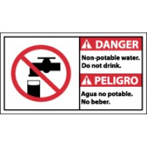 Danger Non-Potable Water Do Not Drink Spanish Sign (#DBA5)