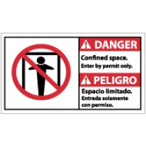 Danger Confined Space Enter By Permit Only Spanish Sign (#DBA8)