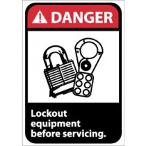 Danger Lock out equipment before servicing. Machine Label (#DGA18AP)