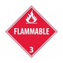 Flammable Class 3 DOT Placard (#DL158)