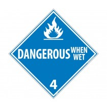 Dangerous When Wet Class 4 DOT Placard (#DL47)