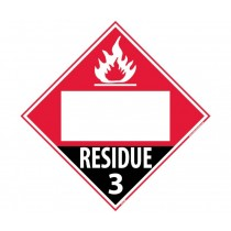 Flammable Gas Residue Class 3 Blank DOT Placard (#DL81B)