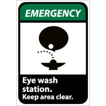 Emergency Eye wash station. Keep area clear ANSI Sign (#EGA4)