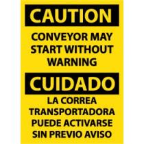 Caution Conveyor May Start Without Warning Spanish Sign (#ESC130)