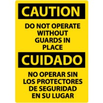 Caution Do Not Operate Without Guards In Place Spanish Sign (#ESC15)