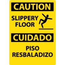 Caution Slippery Floor Spanish Sign (#ESC366)