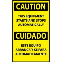 Caution This Equipment Starts And Stops Automatically Spanish Machine Label (#ESC618AP)