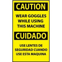 Caution Wear Goggles While Using This Machine Spanish Machine Label (#ESC621AP)