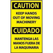 Caution Keep Hands Out Of Moving Machinery Spanish Machine Label (#ESC622AP)