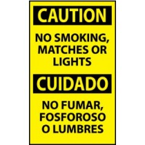 Caution No Smoking, Matches Or Lights Spanish Machine Label (#ESC624AP)