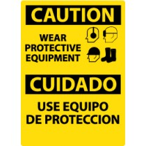 Caution Wear Protective Equipment Spanish Sign (#ESC653)
