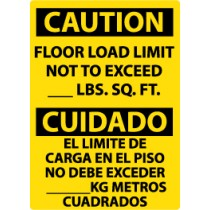 Caution Floor Load Limit Not To Exceed ____ Lbs. Sq. Ft. Spanish Sign (#ESC87)