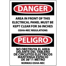Danger Area In Front Of This Electrical Panel… Spanish Sign (#ESD225)