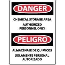 Danger Chemical Storage Area Authorized Personnel Only Spanish Sign (#ESD240)