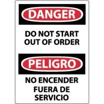 Danger Do Not Start Out Of Order Spanish Sign (#ESD263)