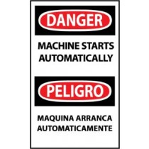 Danger Machine Starts Automatically Spanish Machine Label (#ESD378AP)