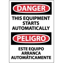 Danger This Equipment Starts Automatically Spanish Sign (#ESD466)