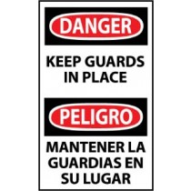 Danger Keep Guards In Place Spanish Machine Label (#ESD566AP)