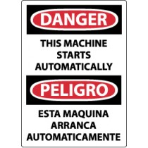 Danger This Machine Starts Automatically Spanish Sign (#ESD87)
