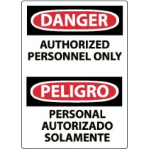 Danger Authorized Personnel Only Spanish Machine Label (#ESD9AP)