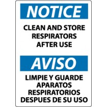 Notice Clean And Store Respirators After Use Spanish Sign (#ESN123)