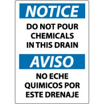 Notice Do Not Pour Chemicals In This Drain Spanish Sign (#ESN130)