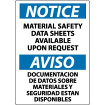 Notice Material Safety Data Sheets Available Upon Request Spanish Sign (#ESN144)