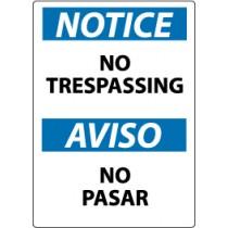 Notice No Trespassing Spanish Sign (#ESN218)