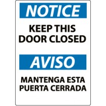 Notice Keep This Door Closed Spanish Sign (#ESN2)