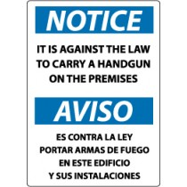 Notice It Is Against The Law To Carry A Handgun On The Premises Spanish Sign (#ESN35)