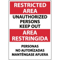 Restricted Area Unauthorized Persons Keep Out Spanish Sign (#ESRA29)