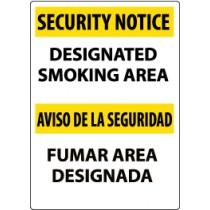 Security Notice Designated Smoking Area Spanish Sign (#ESSN102)