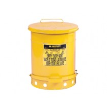 Justrite Foot-Operated Self-Closing Cover Oily Waste Can, 14 Gallon, Yellow (#09501)