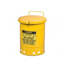 Justrite Hand-Operated Cover Oily Waste Can, 14 Gallon, Yellow (#09511)