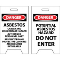 Danger Asbestos Cancer And Lung…/Danger Potential Asbestos Hazard… Double-Sided Floor Sign (#FS14)