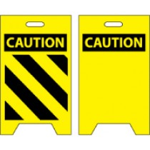 Caution with stripes/Caution blank Double-Sided Floor Sign (#FS15)