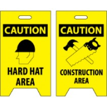 Caution Hard Hat Area/Caution Construction Area Double-Sided Floor Sign (#FS16)