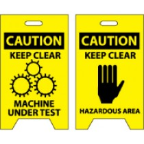 Caution Keep Clear Machine Under Test/Caution Keep Clear Hazardous Area Double-Sided Floor Sign (#FS17)