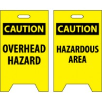 Caution Overhead Hazard/Caution Hazardous Area Double-Sided Floor Sign (#FS18)